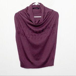 Lauren Vidal Purple Cowl Neck Wool Blend Sweater